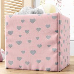 Cesta Organizadora para Brinquedos Corações Rosa 28cm