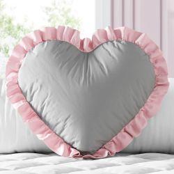 Almofada Coração e Babado Cinza e Rosa 33cm