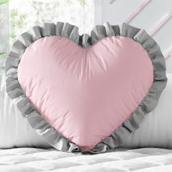 Almofada Coração e Babado Rosa e Cinza 33cm