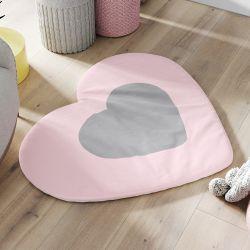 Tapete Coração Rosa e Cinza 90cm
