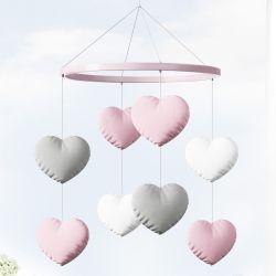 Móbile Corações Rosa
