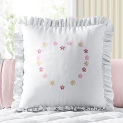 Almofada Quadrada Floral Coração