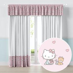 Cortina Hello Kitty Branco e Rosa