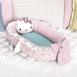 Ninho para Bebê Redutor de Berço Hello Kitty Rosa e Azul