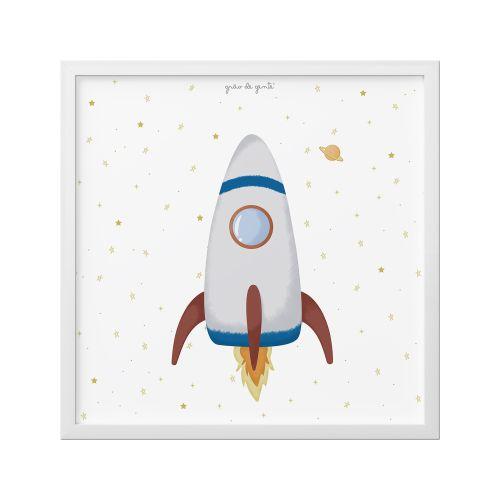 Quadro Foguete e Estrelas 38cm