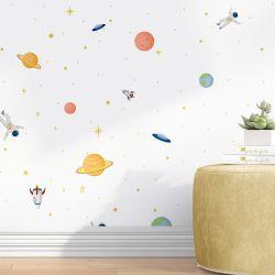 Papel de Parede Astronauta, Planetas e Disco Voador 3M