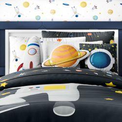 Kit Cama Infantil Solteiro Astronauta Preto e Branco