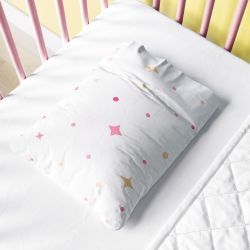 Fronha Bebê Estrelas de Belém Poá Rosa e Amarelo