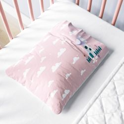 Fronha Bebê Casinha Cogumelo no Céu Rosa