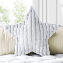 Almofada Estrela Tricot Trança Branco 30cm