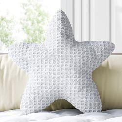 Almofada Estrela Tricot Colmeia Branco 30cm