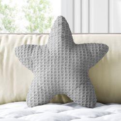 Almofada Estrela Tricot Colmeia Cinza 30cm