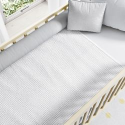 Manta de Berço Tricot Colmeia Branco 1,45M