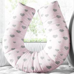 Almofada Amamentação Coração Rosa e Cinza