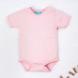 Body Manga Curta Baby Basics Rosa