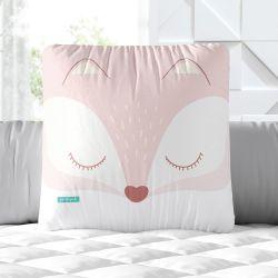 Almofada Quadrada Raposinha Rosa 30cm