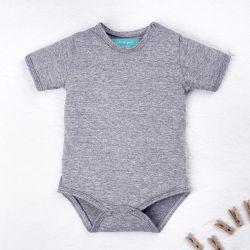 Body Manga Curta Baby Basics Cinza Mescla