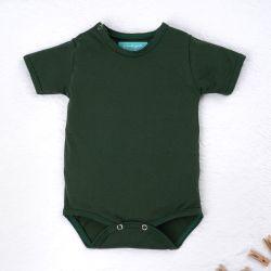 Body Manga Curta Baby Basics Verde Musgo