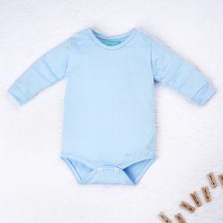 Body Manga Longa Baby Basics Azul Bebê