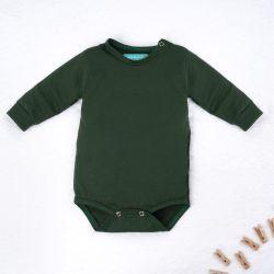 Body Manga Longa Baby Basics Verde Musgo