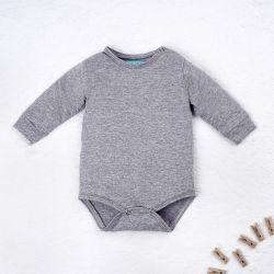 Body Manga Longa Baby Basics Cinza Mescla Tam RN