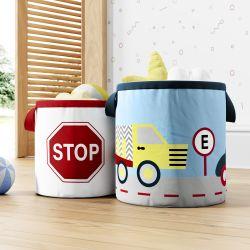 Cestos Organizadores para Brinquedos Caminhão e Stop Vermelho