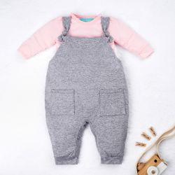 Conjunto Jardineira e Body Manga Longa Baby Basics Cinza e Rosa 02 Peças