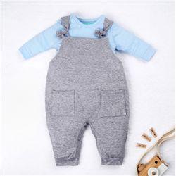 Conjunto Jardineira e Body Manga Longa Baby Basics Cinza e Azul 02 Peças