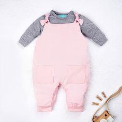 Conjunto Jardineira e Body Manga Longa Baby Basics Rosa e Cinza 02 Peças