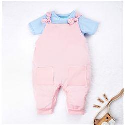 Conjunto Jardineira e Body Manga Curta Baby Basics Rosa e Azul 02 Peças