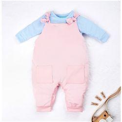 Conjunto Jardineira e Body Manga Longa Baby Basics Rosa e Azul 02 Peças