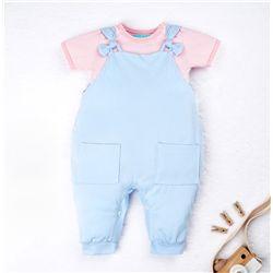 Conjunto Jardineira e Body Manga Curta Baby Basics Azul e Rosa 02 Peças