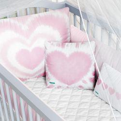 Kit Berço Tie Dye Coração Rosa
