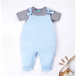 Conjunto Jardineira e Body Manga Curta Baby Basics Azul e Cinza 02 Peças