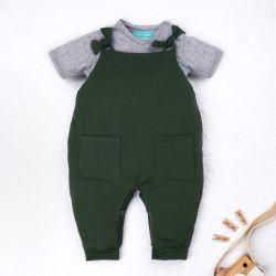 Conjunto Jardineira e Body Manga Curta Baby Basics Verde e Cinza 02 Peças