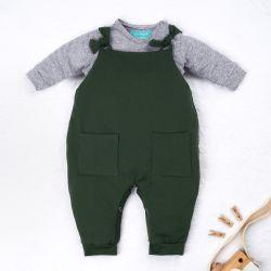 Conjunto Jardineira e Body Manga Longa Baby Basics Verde e Cinza 02 Peças