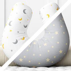 Almofada Amamentação Dupla Face Lua Estrelinha Cinza