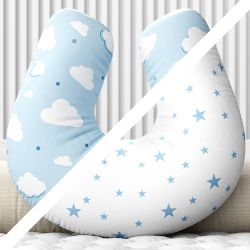 Almofada Amamentação Dupla Face Nuvem Estrelinha Azul