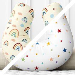 Almofada Amamentação Dupla Face Estrelinha Arco-íris Colorida