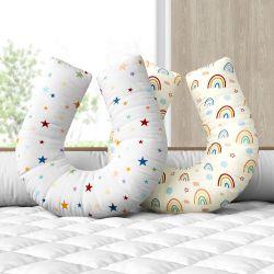 Almofada Amamentação Estrelinha Arco-íris Frente e Verso Colorida
