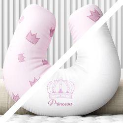 Almofada Amamentação Dupla Face Menina Princesa Rosa