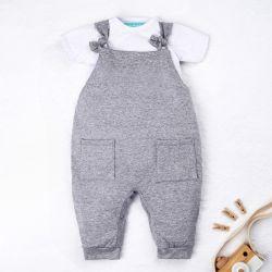 Conjunto Jardineira e Body Manga Curta Baby Basics Cinza e Branco 02 Peças