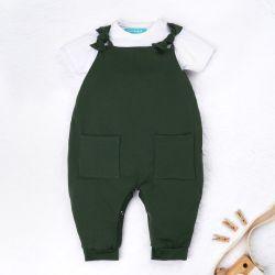 Conjunto Jardineira e Body Manga Curta Baby Basics Verde Musgo e Branco 02 Peças
