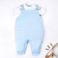 Conjunto Jardineira e Body Manga Curta Baby Basics Azul e Branco 02 Peças