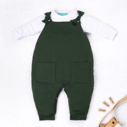 Conjunto Jardineira e Body Manga Longa Baby Basics Verde e Branco 02 Peças