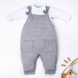 Conjunto Jardineira e Body Manga Longa Baby Basics Cinza e Branco 02 Peças