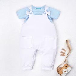 Conjunto Jardineira e Body Manga Curta Baby Basics Azul Bebê e Branco 02 Peças