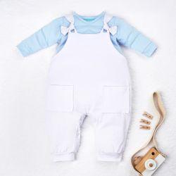 Conjunto Jardineira e Body Manga Longa Baby Basics Azul Bebê e Branco 02 Peças