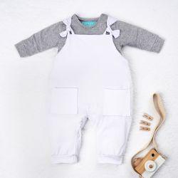 Conjunto Jardineira e Body Manga Longa Baby Basics Branco e Cinza 02 Peças
