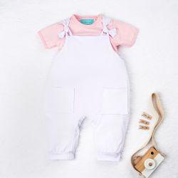 Conjunto Jardineira e Body Manga Curta Baby Basics Rosa e Branco 02 Peças